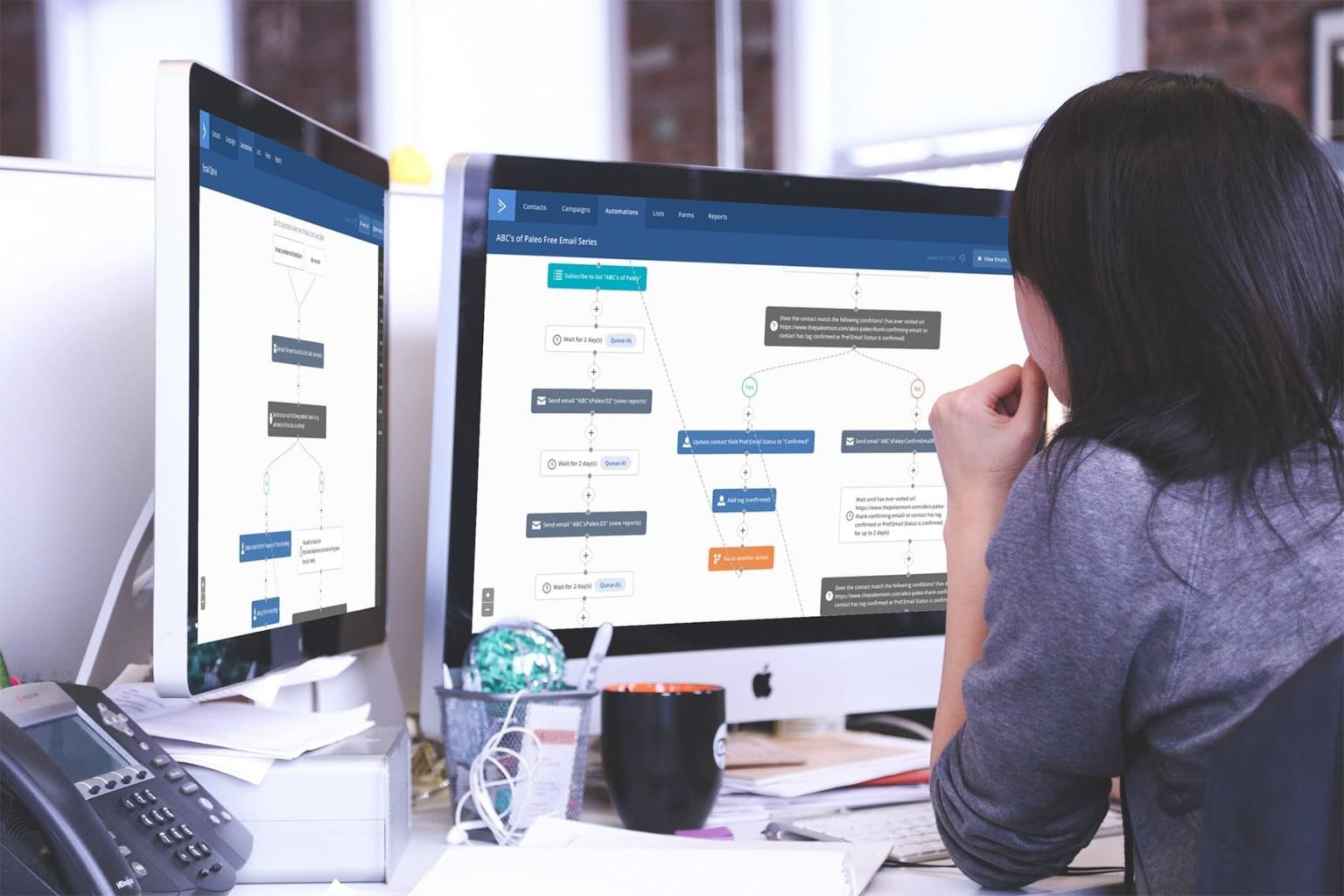 desktop computer displaying marketing automation screen