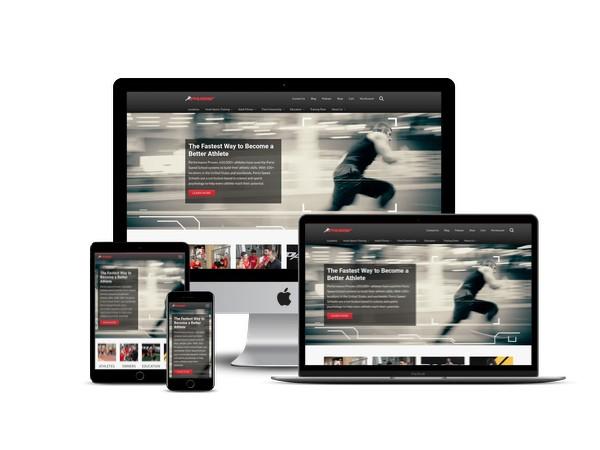 Parisi Speed School website mockup displayed on a desktop, laptop, tablet, and mobile phone
