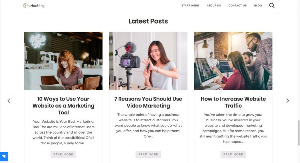 Bizbudding latest posts grid slider