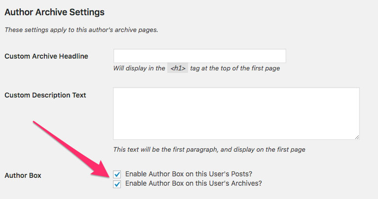 screen shot showing how to enable author box in WordPress