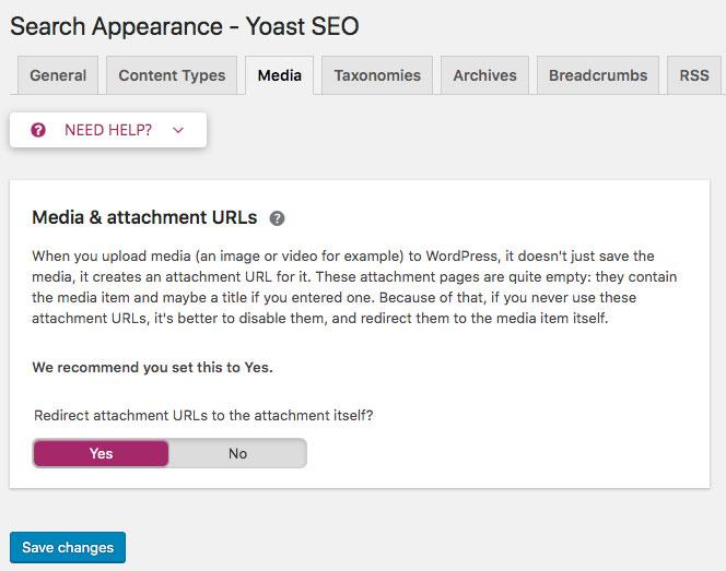 screenshot of Yoast Media & Attachment URLs setting