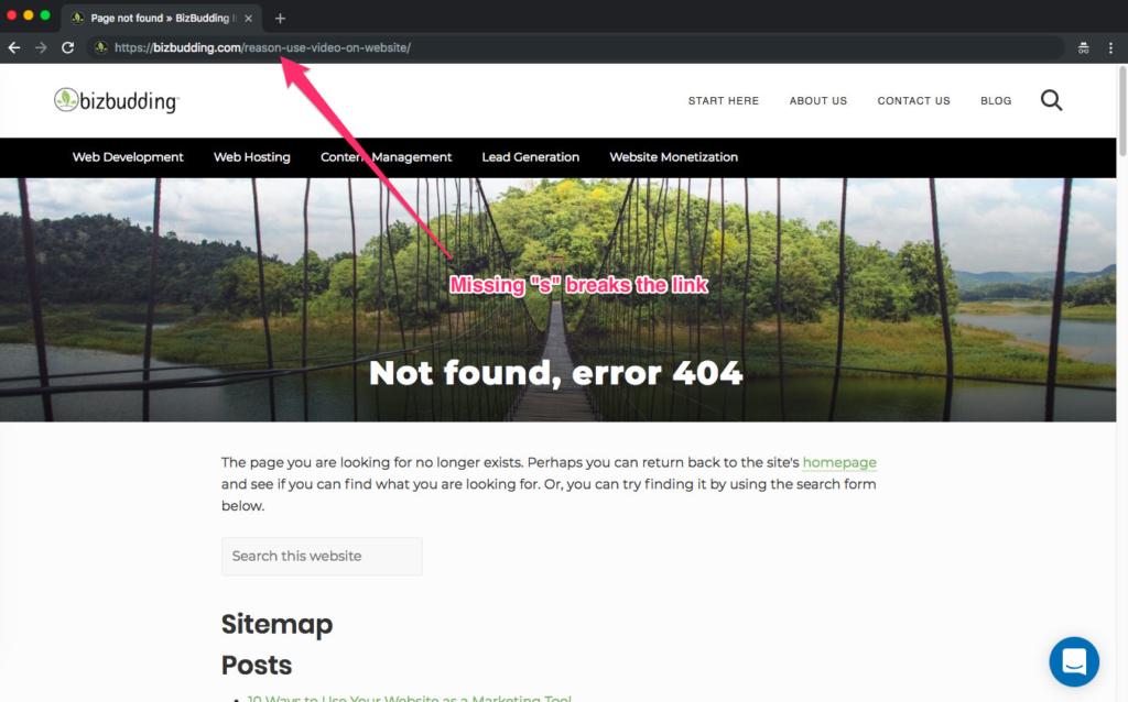 screen shot showing a 404 error example