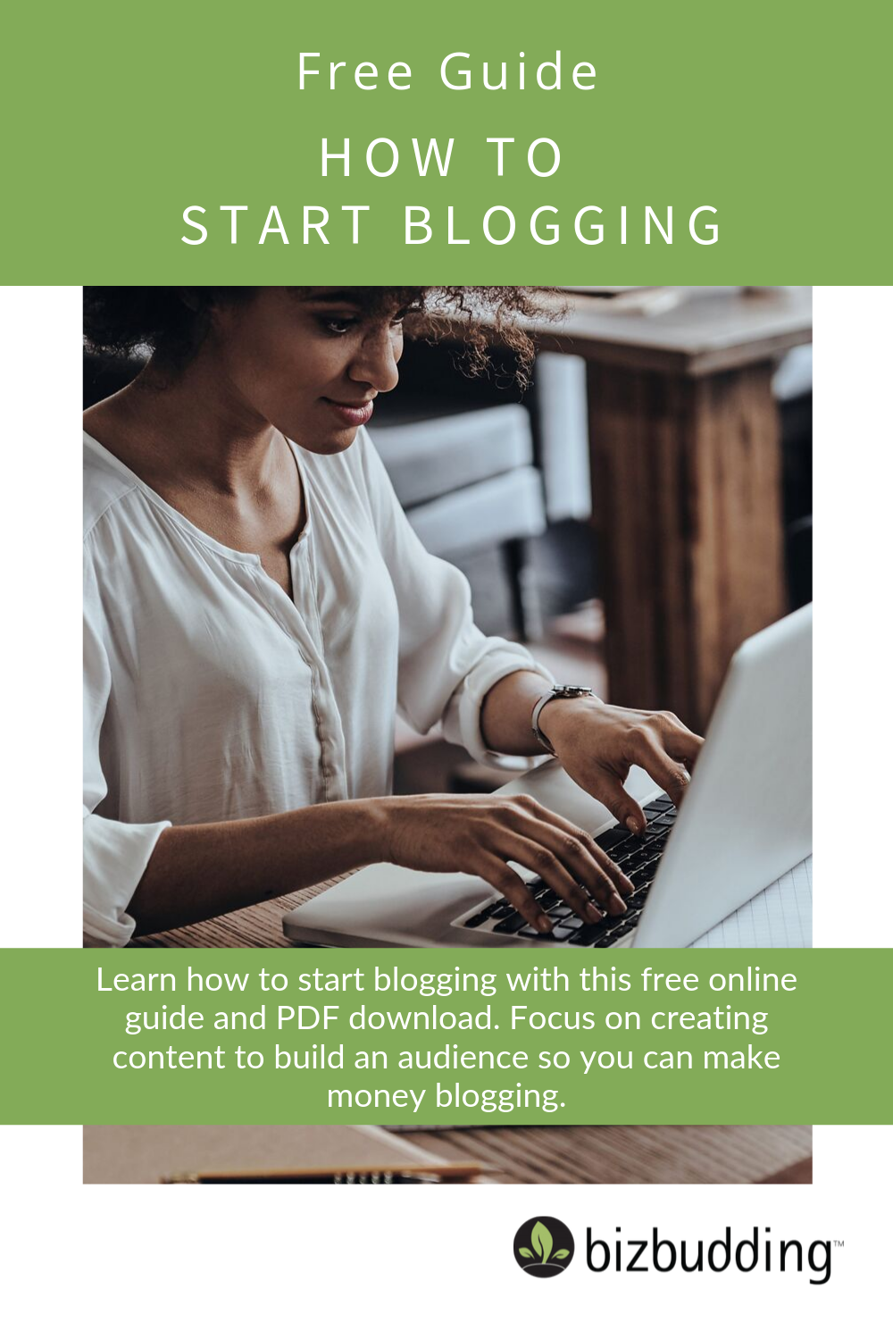 Pinterest image of a woman on a laptop learning about how to start blogging