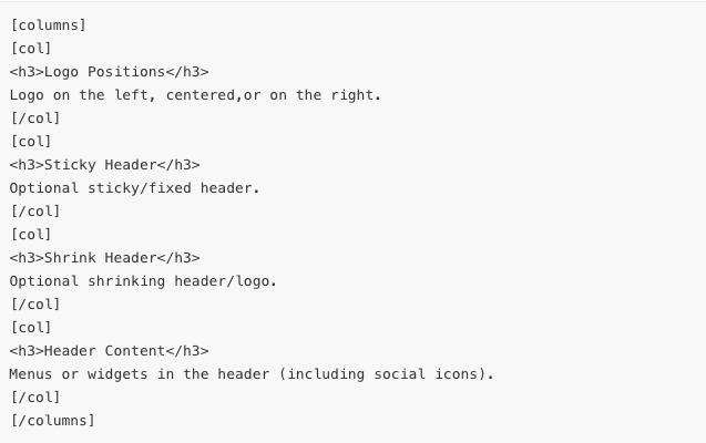 columns-shortcode screen image