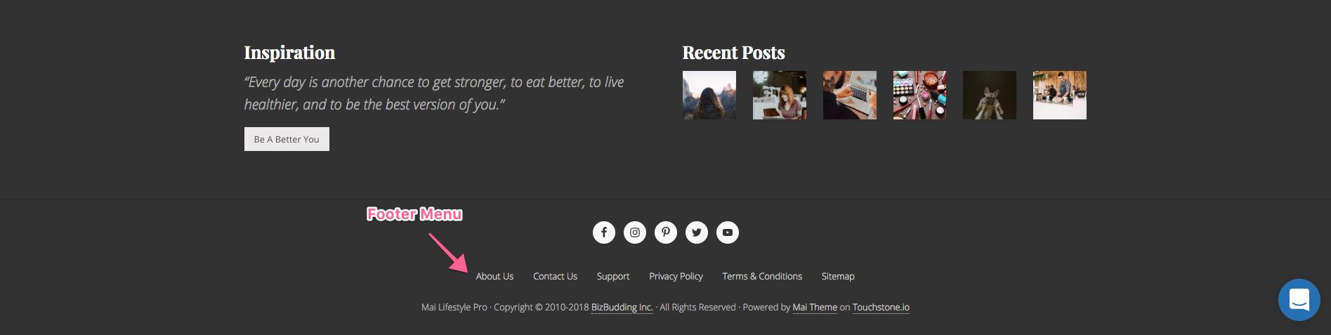 footer-menu screen image