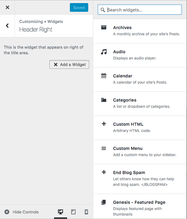 widgets-customizer screen image