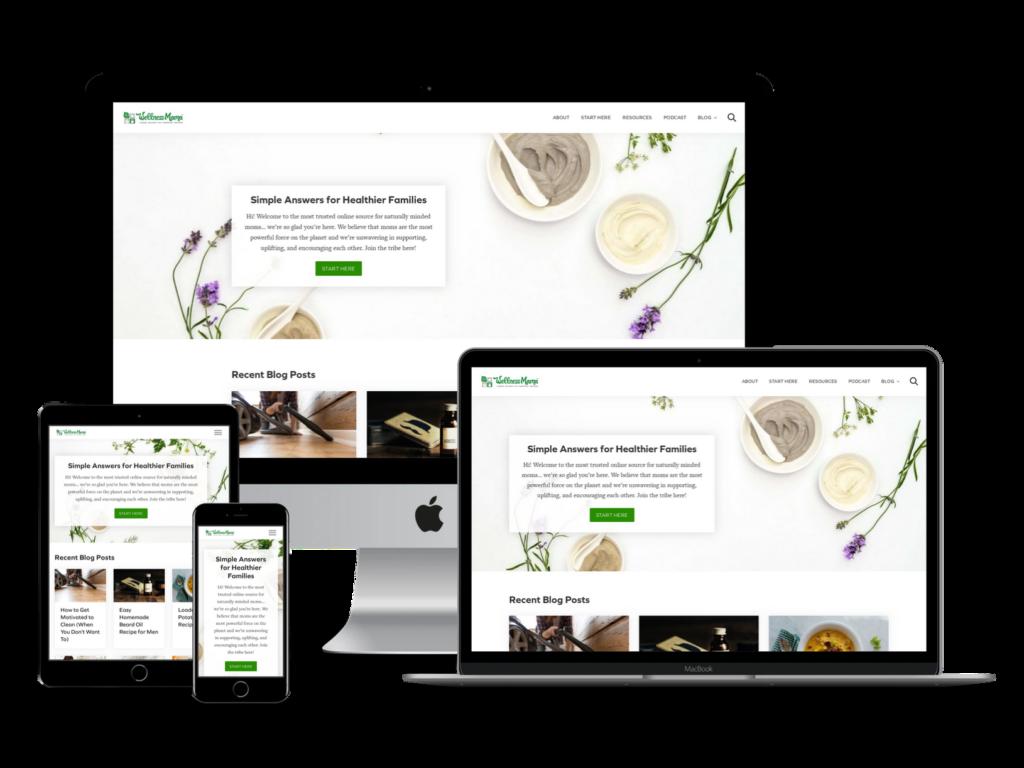 screenshot of Wellness Mama web design