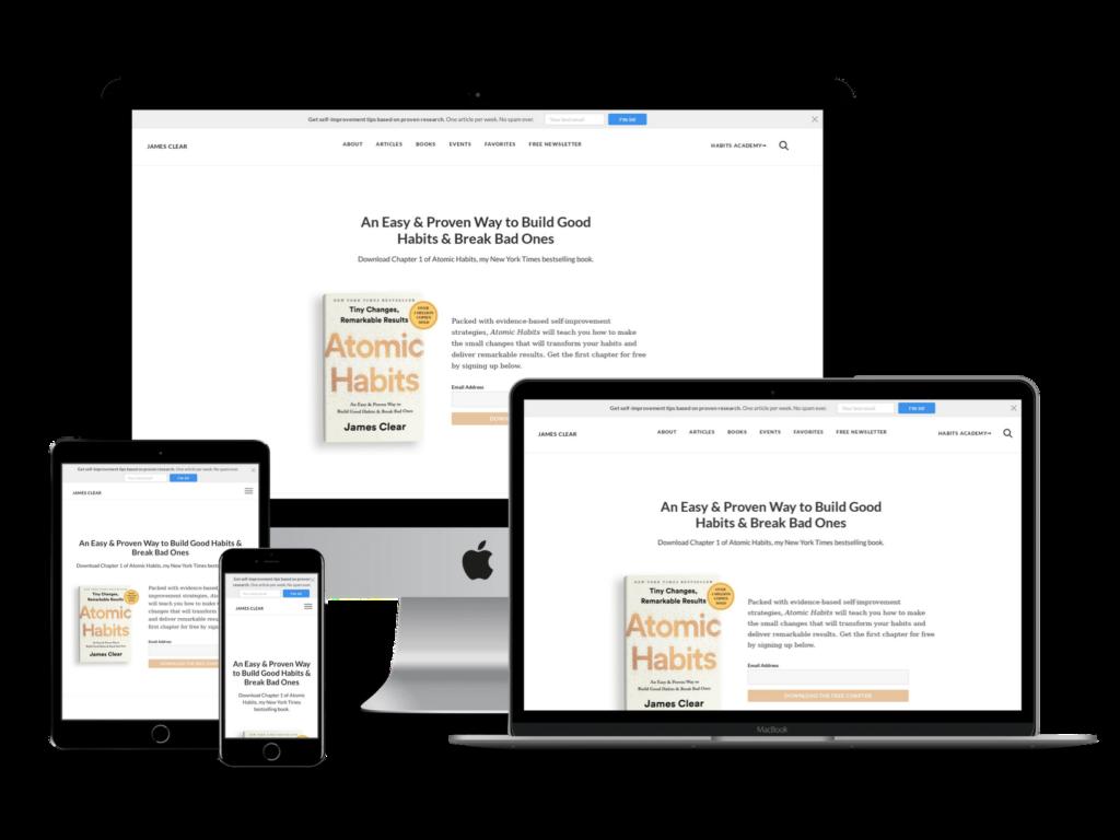 screenshot of James Clear web design