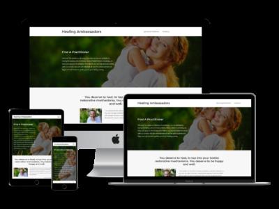 Screenshot of Healing Ambassadors web design
