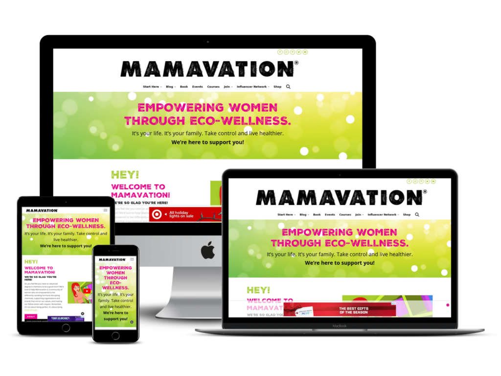 screenshot of Mamavation web design