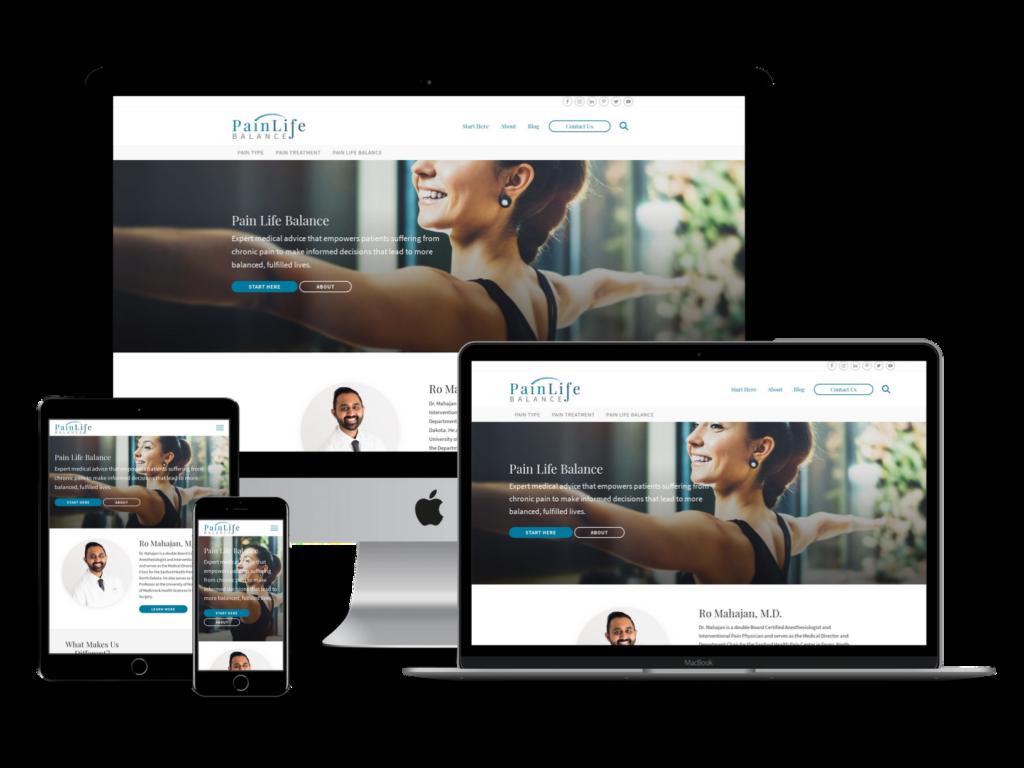 Screenshots of Pain Life Balance web design