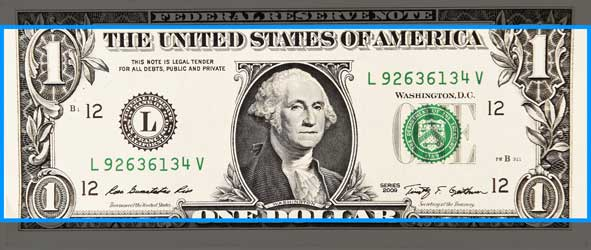 Image of dollar bill in banner size