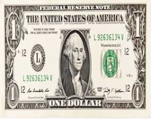 Image of Dollar bill vertically stretched