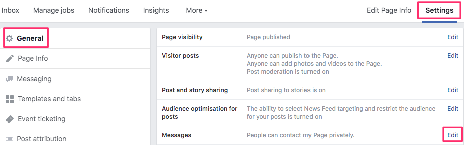 How to enable private Facebook messaging on your page