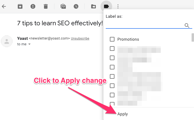 screenshot showing how to apply label change in Gmail