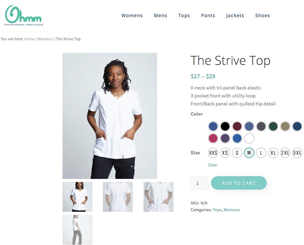 screenshot of Ohmm scrubs product variations