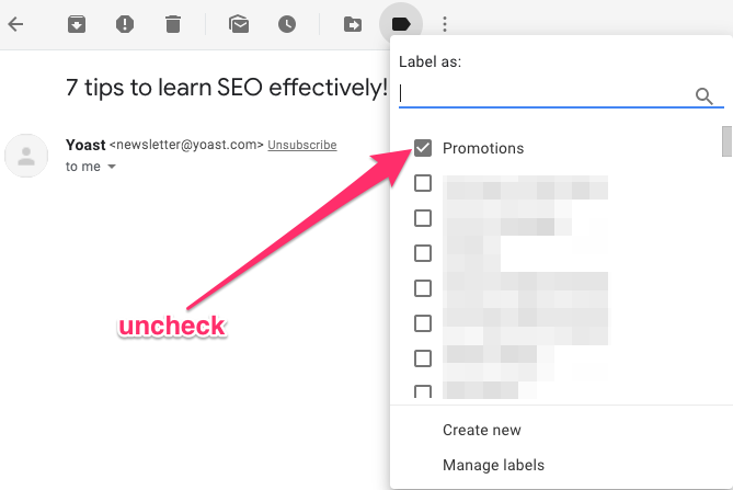 screenshot showing how to remove the Promotions label in Gmail