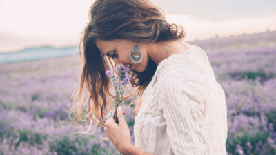 natural beauty woman in lavender field