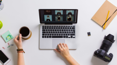photo of person working their online photography porfolio