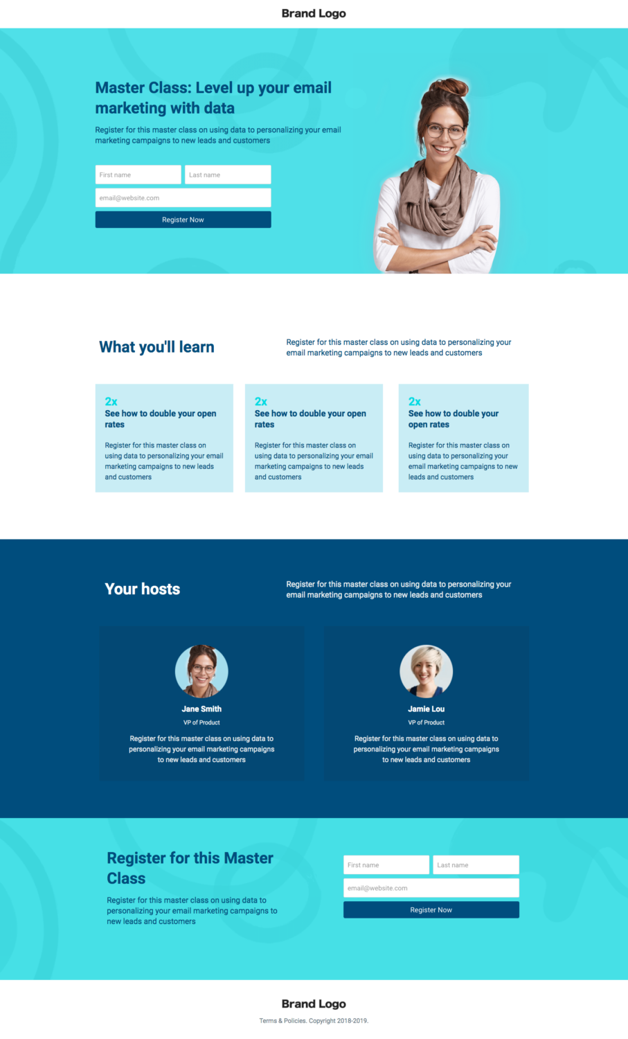 screenshot of ConvertFlow master class landing page template