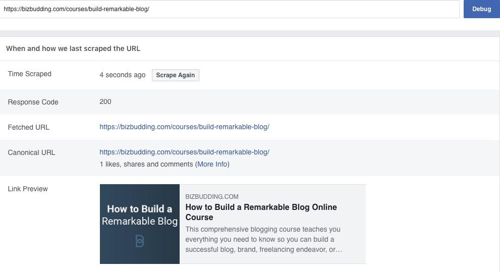 screenshot of successful Facebook Debugger crawl