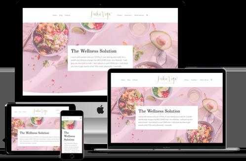 Jackie Vega website mockup displayed on a desktop, laptop, tablet, and mobile phone