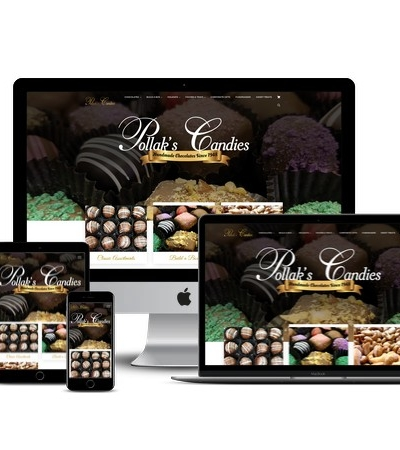 Pollacks Candies website mockup displayed on a desktop, laptop, tablet, and mobile phone
