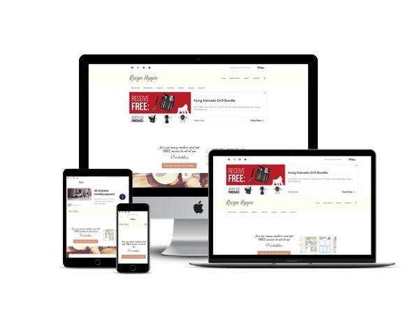 Recipe Hippie website mockup displayed on a desktop, laptop, tablet, and mobile phone