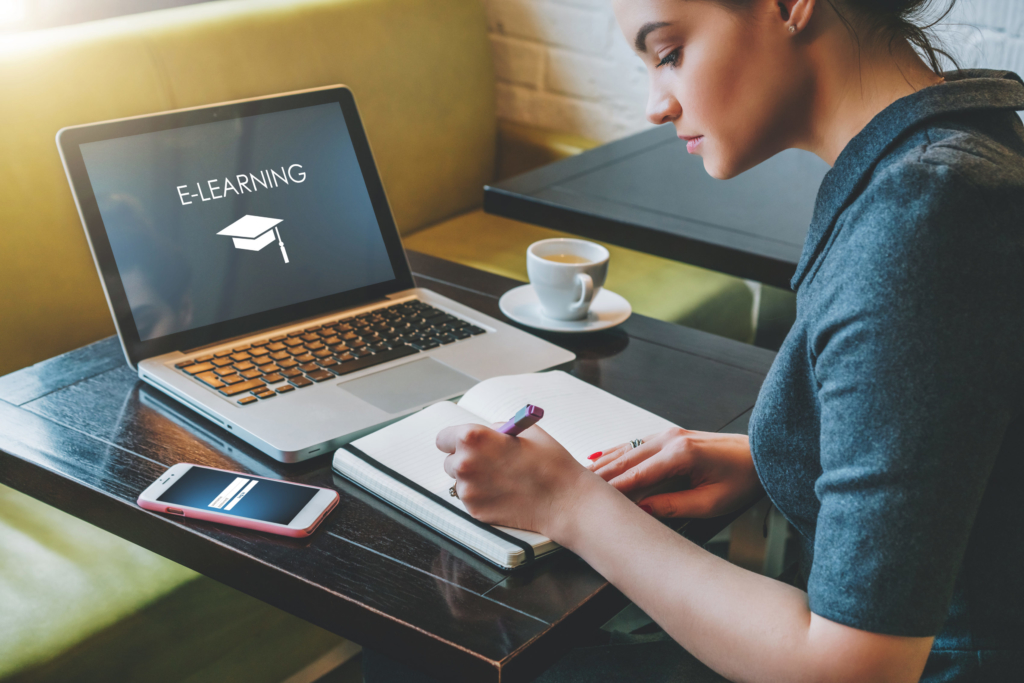 photo of woman taking online course