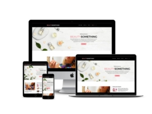 The Beauty Something website mockup displayed on a desktop, laptop, tablet, and mobile phone