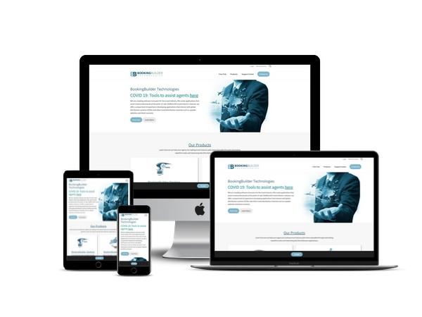 Booking Builder website mockup displayed on a desktop, laptop, tablet, and mobile phone
