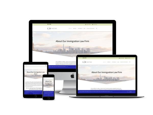 The Law Office of Lindsey J Harris website mockup displayed on a desktop, laptop, tablet, and mobile phone