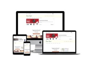Dinky's Ice Cream website mockup displayed on a desktop, laptop, tablet, and mobile phone