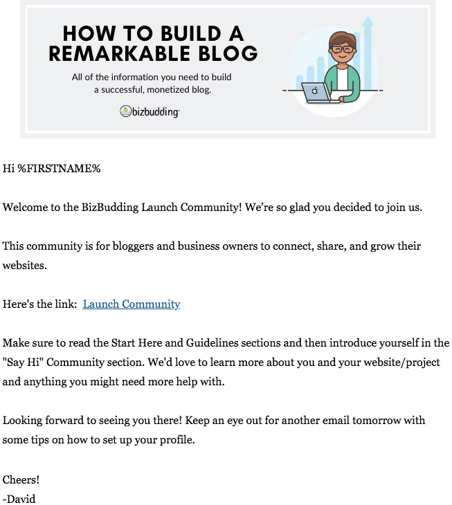 screenshot of Launch Community welcome email