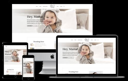 Gentle Nursery website mockup displayed on a desktop, laptop, tablet, and mobile phone