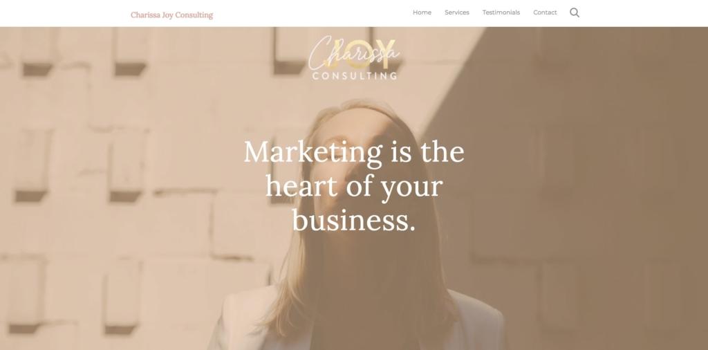 Charissa Joy Consulting website header