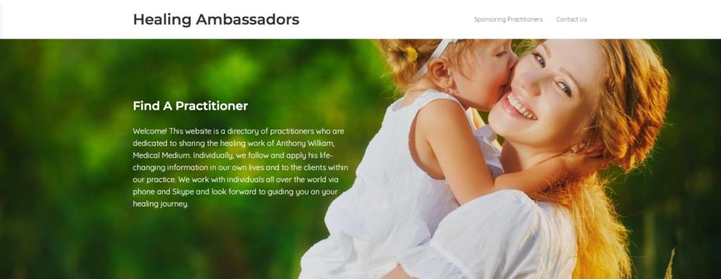 Healing Ambassadors website header