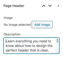 Page header description field