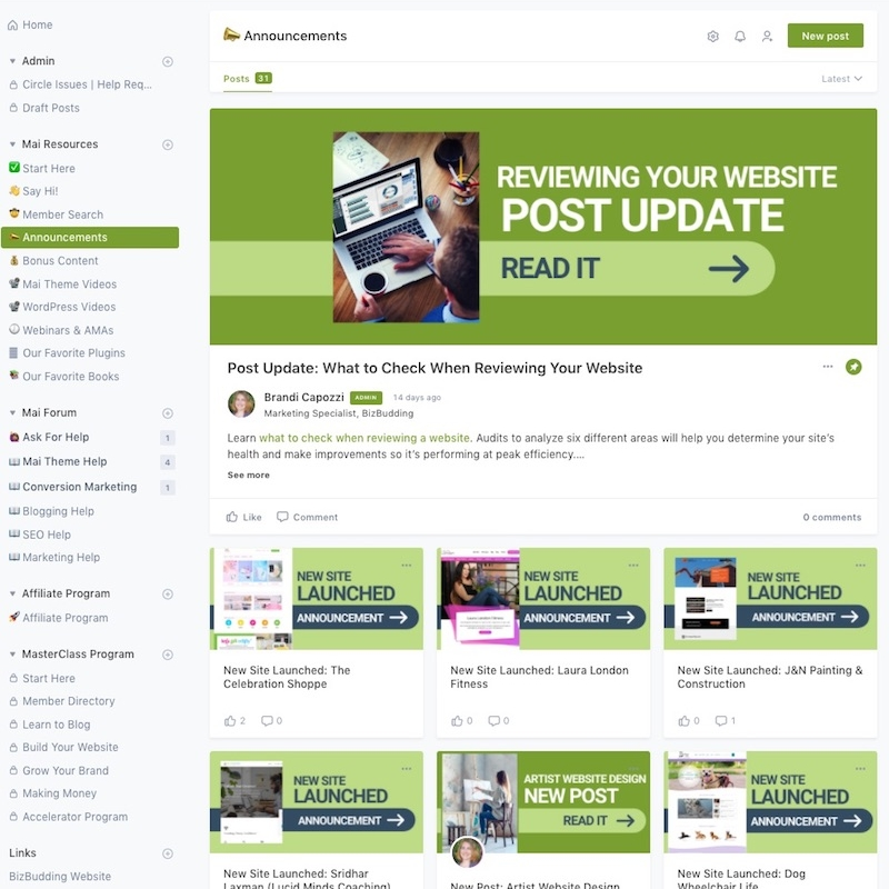 screenshot of BizBudding Blogging Community