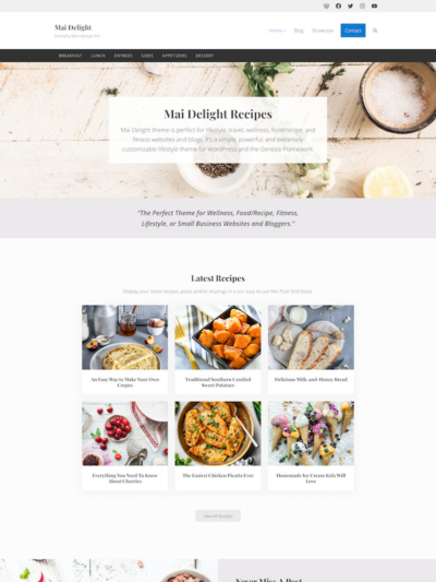 Demo Image of a Mai Delight Recipes blog post layout