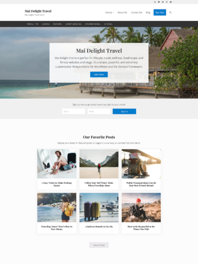 Demo Image of a Mai Delight Travel blog post layout