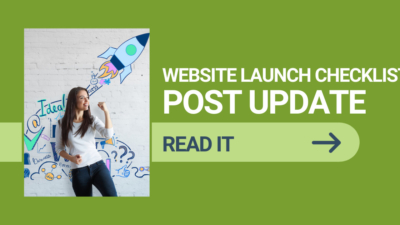website launch checklist image with woman and rocket