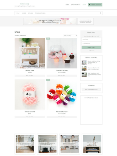 Demo image of a Mai Chic shopping page