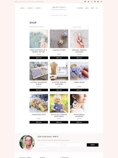 Demo image of a Mai Sparkle Creative shopping page