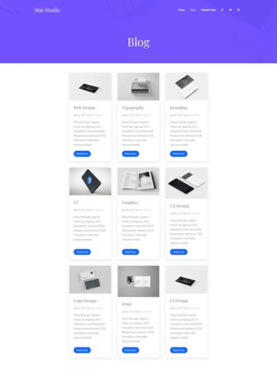 Demo image of a Mai Studio blog post layout
