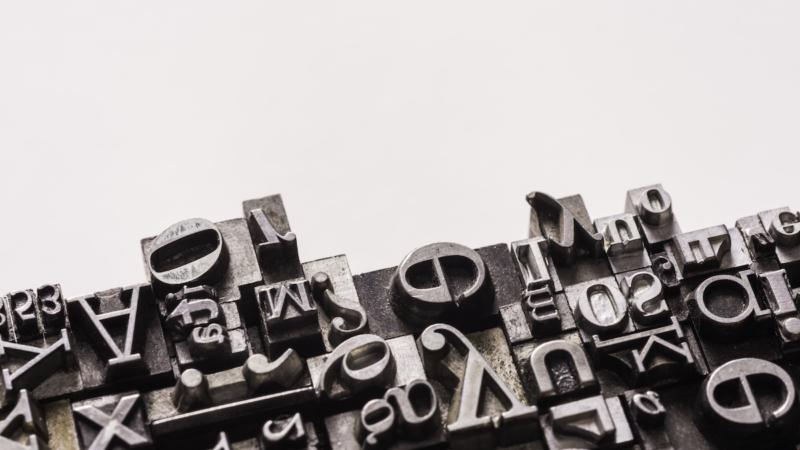 photo of lead letters, used in Gutenberg printing press