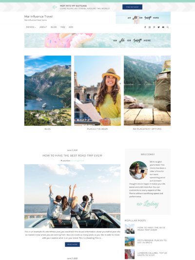 Mai Influence Travel Theme Screen Mockup