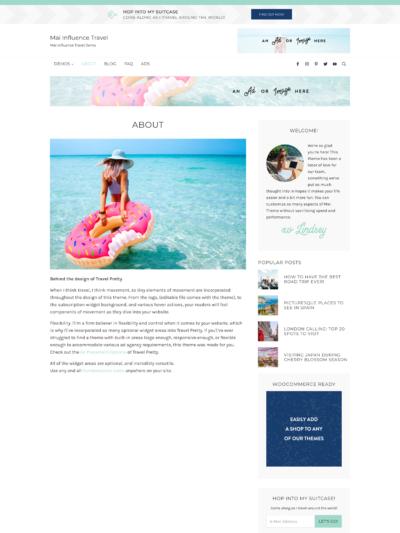 Mai Influence Travel About Theme Screen Mockup
