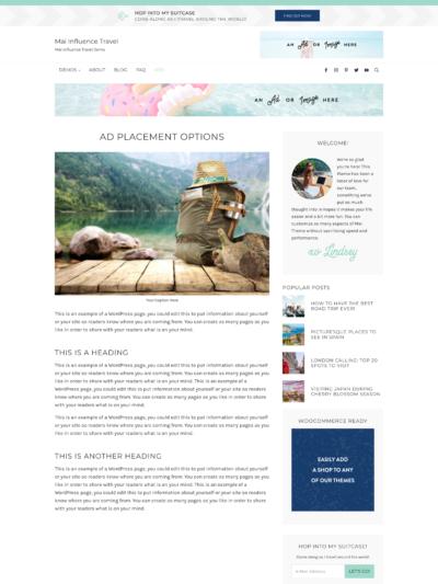 Mai Influence Travel Ads Theme Screen Mockup
