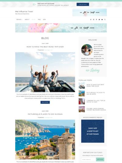 Mai Influence Travel Blog Theme Screen Mockup